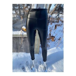 Faux Leather High Rise Leggings Slim Fit Stretch
